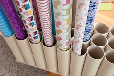 Diy storage, diy wrapping paper storage, craft room storage, gift w Wrapping Paper Organization, Craft Paper Storage, Craft Organization, Diy Storage, Paper Craft, Paper Paper, Wrapping Papers, Diy Wrapping, Organizing Tips
