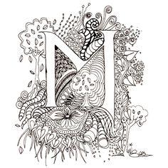 Printable Illuminated Letters | Monogram, Initial, Colour-Me-In Illuminated Letters - M, original art ...