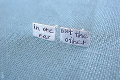 in one ear, out the other...sterling silver artisan earring ear posts metalwork etsy committed jewelry elisa daphne