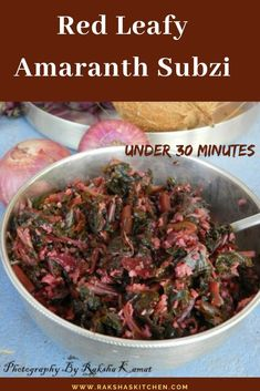 Red leafy amaranth subzi is a dry dish which is vegan and is a under 30 minute recipe. It is healthy leafy vegetable recipe also called tambdi bhaji in Goa. This leafy green recipe is healthy and is gluten free. This is a zero oil recipe too. Goan Recipes, Curry Recipes, Indian Food Recipes, Real Food Recipes, Spicy Recipes, Best Vegetarian Recipes, Lunch Recipes, Dinner Recipes, Chickpea Recipes