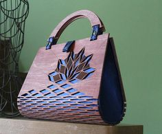 Wood Handbag Silk Handbag Evening bag wooden bag modern