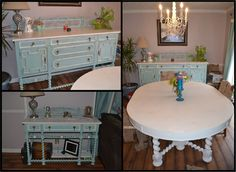 Take a look at Richard Young's beautiful Real Milk Paint Project! The table was 7 ft long and 4 ft wide, the buffet 6 feet. long and 4 ft tall and the side board was 4 ft tall and 2 ft wide. All the pieces were painted cream for the tops, and the body were painted with a mix of Real Milk Paint Cobalt Blue, White and a tad bit of earth green.