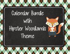 Cute interactive bulletin board calendar with Hipster Woodland animals…