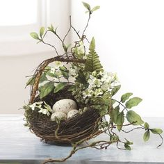 Grapevine, Fern & Leaves Song Bird Nest Basket with 3 Eggs Decorative, 9 Inches Rhode Island Novelty Easter Flowers, Spring Flowers, Spring Birds, Deco Floral, Easter Holidays, Hoppy Easter, Easter Table, Spring Home, French Country Decorating