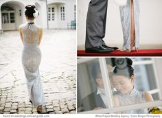 Vicky had two stunning gowns for her wedding in Prague - the first was this elegant Qupiao Chinese dress made in Hong Kong | weddingsabroadguide.com