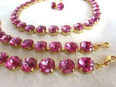 Pink Topaz Paste Collet Necklace and Parure by Dames a la Mode on Etsy Glass Jewelry, Unique Jewelry, Pink Topaz, Anna Wintour, Georgian, Crystal Necklace, Beaded Bracelets, Crystals, Trending Outfits