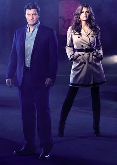 """Nathan Fillion and Stana Katic in """"Castle"""" (ABC). After four years of smoldering sexual tension, Castle ( Nathan Fillion ) and Beckett ( Stana Katic ) finally slept together in the season 4 finale. Castle Abc, Castle Series, Castle Tv Shows, Nathan Fillon, Castle Season, Richard Castle, Castle Beckett, Tv Times, Stana Katic"""