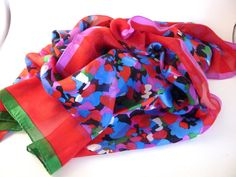 Color Splashed Silk Scarf Red Blue Green by BonniesVintageAttic, $45.00