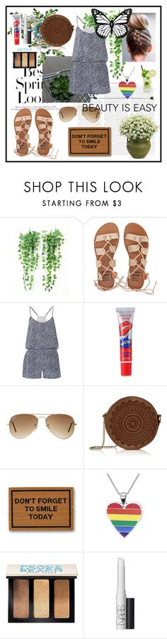 """""""BEAUTY IS EASY"""" by dashademianovich ❤ liked on Polyvore featuring H&M, Billabong, Joie, Ray-Ban, Clever Doormats, Bobbi Brown Cosmetics, NARS Cosmetics and vintage"""
