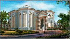 مخطط الفيلا رقم التصميم C1 من مبادرة بيتى 878 متر مربع » arab arch Classic House Design, Modern House Design, Islamic Architecture, Architecture Design, Square House Plans, Arch Building, Dubai Houses, House Plans Mansion, House Outside Design