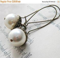 FALL SALE 20% Pearl Acorn Earrings Dangle by laurenblythedesigns