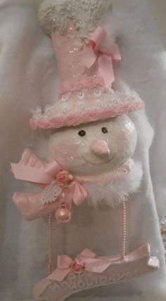 shabby pink victorian christmas snowlady decor hanger chic roses glitter lace