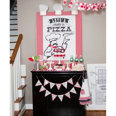 """Pizzeria Pizza Party Birthday Party Printable """"Lets'a Make'a Pizza"""" Chef Sign - Instant Download"""