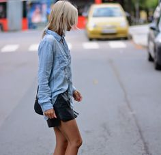 Celine Aagaard ma na sobie koszulę Chambray z Rails i szorty z H & M