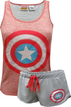 For every Captain America fan out there! These are awesome jammies for every plus size girl! This supersoft pajama top with coordinating shorts showcases the classic Captain America logo. The back of the tank top has laser cut Captain America shields. They are so soft you'll never want to take them off! The image on these shorties is intentionally distressed.
