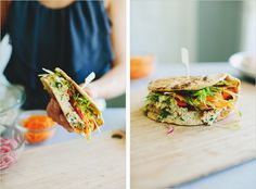 VEGGIE NAAN'WICH WITH FETA CHICKPEA MASH