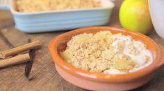 Apfel-Crumble mit Vanillesauce - [ESSEN UND TRINKEN]