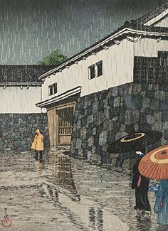 """Japanese Art Print """"Uchiyamashita in Rain, Okayama"""" by Kawase Hasui. Shin Hanga and Art Reproductions http://www.amazon.com/dp/B00ZMZ1C5K/ref=cm_sw_r_pi_dp_T6.swb1AQ6Z2Z"""