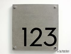 Modern House Numbers,Square Concrete & Black Acrylic - Sign Plaque - Door…