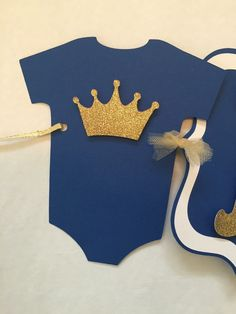 Prince Baby Shower Banner on Royal Blue and Gold by AllDiaperCakes