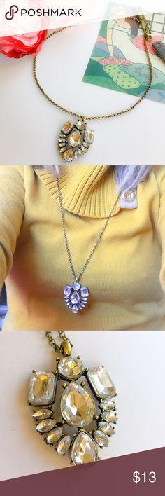 J Crew Rhinestone Pendant Necklace Pretty Rhinestone Pendant Necklace. Bronze Tone Chain and clear stones. J. Crew Jewelry Necklaces