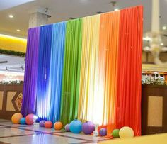 Ice Silk Rainbow Wedding Backdrop Colourful Wedding Background Party Decoration background drop colors for choose Hawaiian Party Decorations, Stage Decorations, Birthday Party Decorations, Birthday Parties, Rainbow Wedding Decorations, Diy Wedding Backdrop, Diy Backdrop, Fabric Backdrop, Backdrop Event