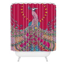 Geronimo Studio Red Peacock Shower Curtain from Deny Designs. Saved to DENY Designs Shower Curtains. Geronimo, Peacock Shower Curtain, Peafowl, All Birds, Home Accessories, Duvet Covers, Objects, House Design, Curtains