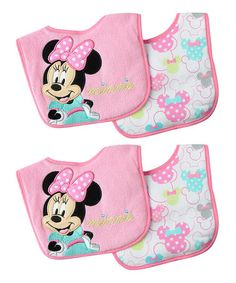 Another great find on #zulily! Disney Minnie Mouse Bib - Set of Four #zulilyfinds