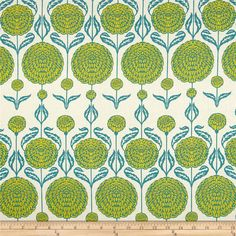 Joel Dewberry Birch Farm Chrysanthemum Peacock from @fabricdotcom Designed by Joel Dewberry for Free Spirit, this cotton print is perfect for quilting, apparel and home decor accents. Colors include cream, teal and citron.