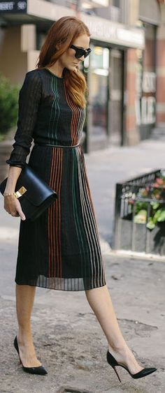 Just a pretty style | Latest fashion trends: Office look | Black and colorful striped midi dress