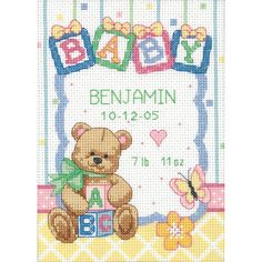 """Dimensions Baby Hugs Baby Blocks Birth Record Counted Cross Stitch Kit-5""""X7"""" 14 Count"""