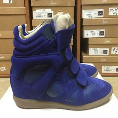 145b3624ff0 Isabel Marant Suede Sneakers Velcro Royal Blue Athletic Wedge High Tops