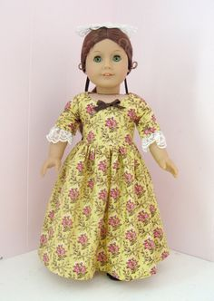 American Girl Clothes Colonial Gown and Pinner Cap by SewedHerMind, $28.00