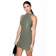 Boohoo Lisa High Neck Slinky Mini Dress ($16) ❤ liked on Polyvore featuring dresses, khaki, cocktail mini dress, going out dresses, night out dresses, party dresses and short dresses