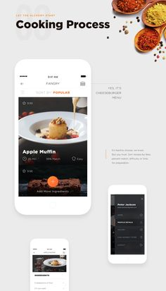 Fangry Food Mobile App - When you are hungry you don't want to waste your time. Jump in quickly to the app. Mobile Ui Design, App Ui Design, User Interface Design, Food Design, Webdesign Inspiration, Ui Inspiration, Check In App, Cooking App, App Landing Page