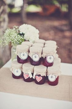 Melissa and Adam's 25 Guest $5,000 Backyard Wedding. Jesslaine Elise Photography. Homemade strawberry jam favors. #favors #realwedding #backyardwedding