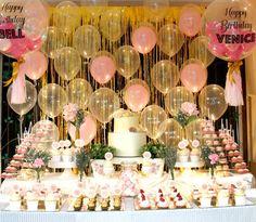 Pink and Gold Princess Dessert Bar | CatchMyParty.com