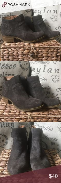 Lucky Brand Brolley brown suede booties With soft suede and a western inspired silhouette, these trendy ankle boots from Lucky Brand are the perfect complement to your laid back style. The Brolley booties will pair nicely with your favorite denim for an effortlessly chic casual look. They show some signs of wear mostly on one heel with some salt stains (that will probably come out). But overall in great condition. Only had for one season. Lucky Brand Shoes Ankle Boots & Booties