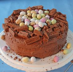 A chocoholic treat. If you have forgotten to buy the flakes simply grate some ch… A chocoholic treat. If you have forgotten to buy the flakes simply grate some chocolate over the nest edge. Chocolate Easter Cake, Chocolate Nests, Chocolate Sweet Cake, Chocolate Birthday Cake Kids, Baking Chocolate, Baking Recipes, Cake Recipes, Dessert Recipes, Holiday Baking