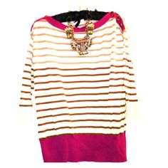 Anthropologie striped sweater Adorable! Cute button detail, cotton fine gauge sweater with 3/4 sleeves. Fits a medium or a small. Wear with skinnies and boots for fall, or show a collared shirt underneath. Worn only twice, like new. By little yellow bird Anthropologie Sweaters Crew & Scoop Necks
