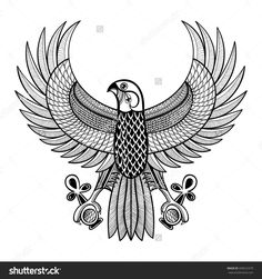 stock-vector-hand-drawn-artistically-egypt-horus-falcon-patterned-ra-bird-in-zentangle-style-wisdom-symbol-of-358522379.jpg (1500×1600)