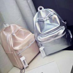N.I.C.O.L.E   @GXLDEN22 Cool Backpacks For School, Backpacks For College, Girly Backpacks, Metallic Backpacks, Unique Backpacks, Leather Backpacks, Backpack 2017, Backpack For Teens, Mini Backpack