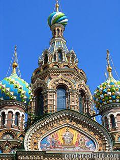 ... façade de la cathédrale Saint Sauveur - Saint Petersbourg - Russie