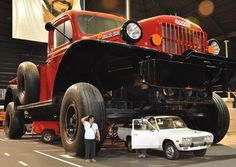 The world's largest truck a replica of a classic Dodge Power Wagon, about eight times the original Power Wagon size.     It has four bedrooms inside the cabin.     The vehicle also moves under its own power and weighs more than 50 tonnes. it is placed in a Sheik museum Abu Dhabi