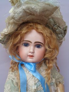 "ANTIQUE JUMEAU BISQUE TETE DEPOSE 12 DOLL c1880 CLOSED MOUTH 26"" TALL EXCLUSIVE"
