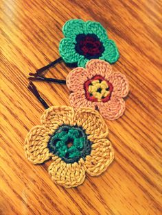 Crochet Flower Hair Pins by CatWomenCrafts on Etsy, $10.00