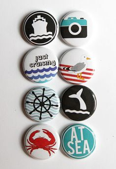 These are one inch flair buttons with a cruise theme. THere are 8 buttons in this set.