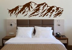 Vinyl Decal Nature Wall Sticker Majestic Mountains Snowy Peaks Ski Slopes (n348)                                                                                                                                                                                 More