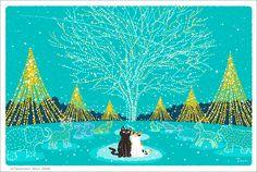 """イラストレーター森俊憲が描く、猫のイラスト『たびねこ』シリーズの新作です。 12月用のカレンダーイラストで、クリスマスのイルミネーションを見上げる猫のカップルを描きました。 It is a new work of the illustration """"TABINAKO"""" series of the cat which illustrator Toshinori Mori draws. I drew the couple of the cat which looked up at the..."""
