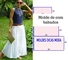 Discover thousands of images about Saia branca com babados - Moldes Moda por Medida Easy Sewing Patterns, Clothing Patterns, Dress Patterns, Techniques Couture, Sewing Techniques, Fashion Sewing, Diy Fashion, Sewing Clothes, Diy Clothes